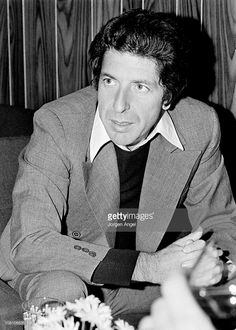 Leonard Cohen is interviewed in Copenhagen, Denmark in September 1974 (Photo by Jorgen Angel/Redferns)