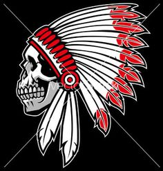 Indian chief skull vector - by bazzier on VectorStock®