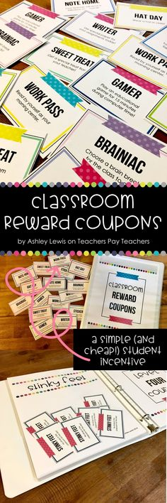 This NEWLY UPDATED set includes 31 different classroom coupons in TWO different themes (hat day, great note home, eat lunch with the teacher, read a book to the class, etc.). These can be used as a great student incentive that doesn't cost any money for the teacher, and is more intrinsically motivating for your class! It keeps kids from having a bunch of treasure box prizes in their desks or at home, and keeps you from having to store or buy them!