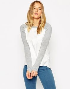 ASOS Jumper in Knit With Woven Panels