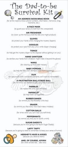 """Dad-to-be Survival Kit card Fathers day this year. Will add a small bottle of whiskey for the """"long nights"""" and a """"I love daddy"""" bib ;p lol"""