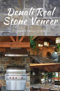 This beautiful covered patio showcases the Quarry Mill's Denali natural thin stone veneer. #naturalstone #stoneveneer #thinstone #realstone #quarry #freeshipping #outdoorkitchen #coveredpatio #outdoorgrill #grillmaster #madeinamerica #dreamhome #designideas #stonesiding #quarrymill #castlerockstone #rusticpatio #dreampatio #naturalstoneveneer #realstoneveneer #rusticdesign #designideas #designinspiration Real Stone Veneer, Natural Stone Veneer, Natural Stones, Rustic Patio, Stone Siding, Grill Master, Made In America, Rustic Design, Outdoor Living