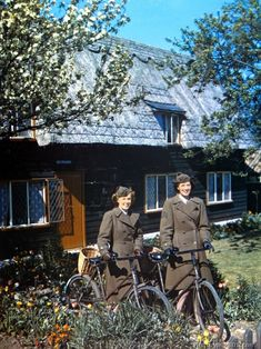 These WACs in England ride bikes from their quarters to their offices.