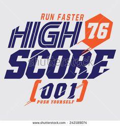 Sport running typography, t-shirt graphics, vectors