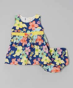 Love this the Silly Sissy Blue & Orange Bow Flower Dress & Bloomers - Infant by the Silly Sissy on #zulily! #zulilyfinds
