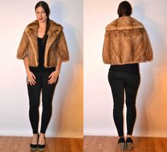 1950s sz medium fur cape mink fur stole // USA MADE #madeinamerica #fauxyfurrvintage #foxylady