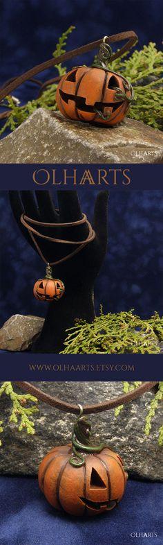 #OlhaARTS, #polymerclay, #polymer, #clay, #handmade, #necklace, #pendant, #jackolantern, #Halloween