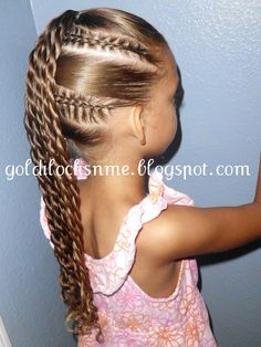 Great style for Lil Miss Divas.  #Girl Hairdo, #cornrows and #ponytail twists