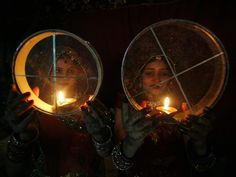 Bhopal, India, Karva Chauth festival - the day of the husband - women burning candles.