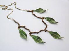 Elven Necklace Green Leaf Necklace Sage Green Nature