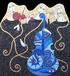 "Trio | Irina Charny Mosaics.  Trio  32"" x 33""  glass, porcelain, millefiori, beads, gold  2005"