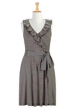 I <3 this Ruffle faux-surplice stripe dress from eShakti