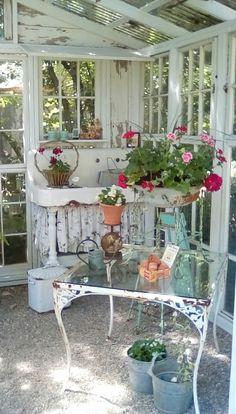 Cottage Garden Sheds, Garden Shed Interiors, Garden Houses, Outdoor Rooms, Outdoor Fun, Outdoor Living, Outdoor Decor, Outdoor Potting Bench, Potting Tables