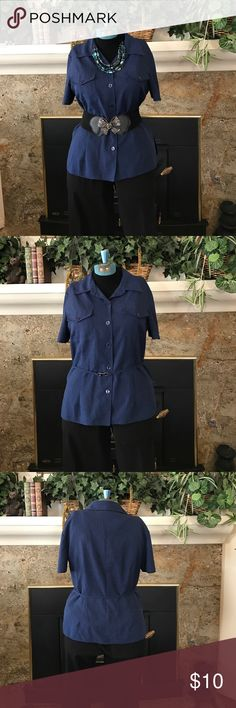 Navy blue blouse.  Short sleeves Navy blue blouse.  Short sleeves with matching belt in picture 4. Pocket on breasts. Matching pants sold separately. Pin striped material. Light weight very comfortable. 17 inches shoulder to shoulder. 25 inches long (2) Kathie Lee Collection Tops Button Down Shirts