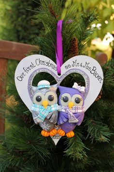 Babys first Christmas ornament  personalized baby owl ornament
