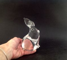 Vintage Crystal Glass Bunny Paperweight - Bunny Figurine - Heavy Glass Bunny - Glass Rabbit - Baby Room Decor by VintageModernHip on Etsy