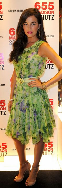 Who made Camilla Belle's green print dress and shoes that she wore in New York on September 5, 2012