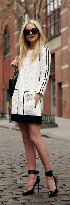 Street Style | Atlantic-Pacific.  I just got some boucle and am looking for dress ideas.