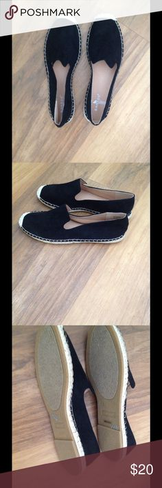 🆕 Black Espadrille Slip Ons These cute slip ons are made of a suede like material and have an espadrille bottom. Great for spring/summer. The shoe says they are a size 10, but they run small. Fit more like a 9 maybe 9.5. Offers welcome. Bamboo Shoes Espadrilles