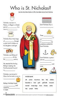 Nicholas Center ::: Things to Print- St Nicholas worksheet Catholic Crafts, Catholic Kids, Catholic Saints, Church Crafts, Who Is St Nicholas, Christmas Activities For Kids, Ccd Activities, Church Activities, All Saints Day