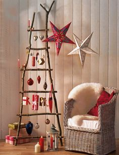 ornaments on ladder