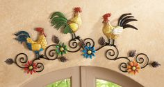 Rooster Kitchen Metal Wall Art from Collections Etc. Chicken Kitchen Decor, Rooster Kitchen Decor, Rooster Decor, Farmhouse Kitchen Decor, Country Kitchen, Rooster Art, Open Kitchen, Tree Wall Decor, Tree Wall Art