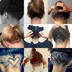 http://natural-hairs.com/57-most-attractive-short-hairstyles-that-drive-men-crazy-loco/ Check out these pictures for 9 nape undercut designs for women. These cool cuts can be simple shapes or complex patterns sh