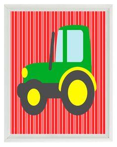 Farm Tractor Art Print   Boy Room Baby Nursery by RizzleandRugee, $15.00