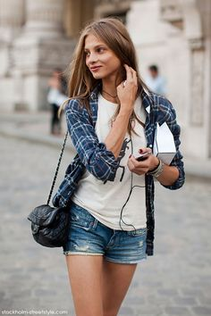 I like this though it's very casual. Note there are only two colors: blue and white, and they appear in the cut-offs and the shirt. There's also contrast: dark long-sleeve shirt and white t. The blue of the shirt is close in color to denim, and is streaked with white, just as the denim is.