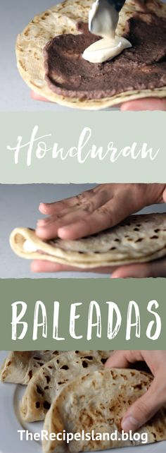 Learn how to make authentic Honduran baleadas from scratch! The crown jewel of Honduran cuisine. Fresh homemade flour tortillas and refried beans. Latin American Food, Latin Food, Honduran Recipes, Mexican Food Recipes, Honduras Food, Roatan Honduras, Homemade Flour Tortillas, Gastronomia, Food Cakes