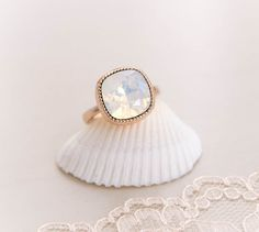 Opal Crystal Rose Gold Ring . white opal by CocoroJewelry on Etsy, $32.00