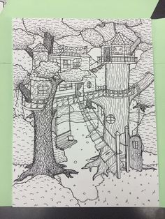 Tree house 2 point perspective drawing by Olivia-2014
