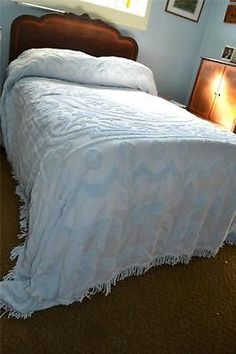 Vintage Chenille and Satin Bedspread Everwear Winter White