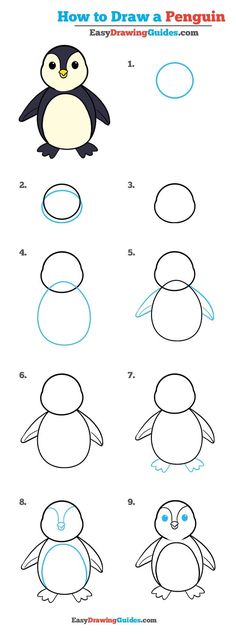 How to draw a penguin- easydrawingguides.com
