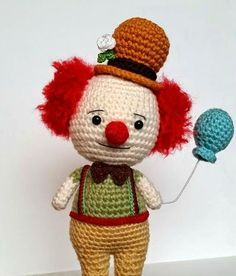 Clown Doll - Free Amigurumi Pattern here: http://www.amidorablecrochet.ca/2014/09/clown-pattern.html#.VBspBVdQB8g