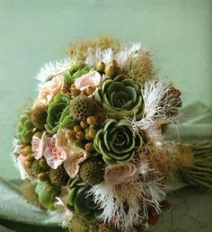 if i wore the pink dress, this would be cool! echeveria succulents blackberries hypericum berries and scabiosa pods tufts of feathers smokebush by Ink and Peat bouquet wedding autumn winter weddings event parties Bouquet Succulent, Floral Wedding, Wedding Flowers, Bouquet Wedding, Peacock Wedding, Casual Wedding, Wedding Dresses, Scabiosa Pods, Rustic Bouquet