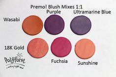 Blush & Wasabi, Purple, Ultramarine Blue, 19K Gold, Fuchsia and Sunshine 1:1