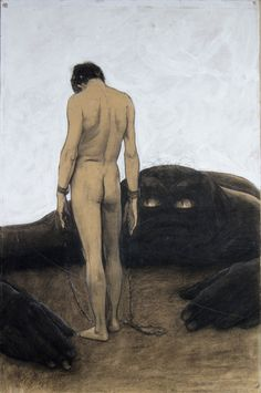 At the turn of the century, German artist by the name of Sascha Schneider, he created various paintings and lithographs of naked men that helped transform the eroticized male into an ubiquitous public image for a brief moment in Germany's history. Hans Holbein, Caspar David Friedrich, Anton, Hans Thoma, Art History Timeline, Carl Spitzweg, Gay Aesthetic, Male Figure, Schneider
