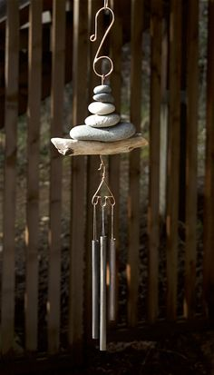 Beach Stone Driftwood Wind Chimes Handcrafted