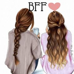 Be Ready in Five (Fashion Illustration Print)(Fashion Illustration Art - Home Decor - Wall Decor )By Melsy's Illustration's Best Friend Drawings, Girly Drawings, Cute Drawings Of Girls, Drawing Of Best Friends, Contour Drawings, Pretty Drawings, Drawing Faces, Best Friend Pictures, Bff Pictures