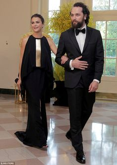 Hollywood couple: Keri Russell and Matthew Rhys made an entrance at a state dinner at the White House on Tuesday