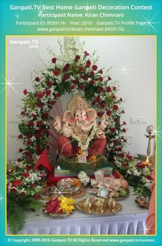 Kiran Chimnani Page on Ganpati.TV where all Ganpati festival decoration pictures and videos are shared. Flower Decoration For Ganpati, Eco Friendly Ganpati Decoration, Ganpati Decoration Design, Diy Diwali Decorations, Festival Decorations, Birthday Decorations, Flower Decorations, Ganpati Picture, Ganesh Chaturthi Decoration