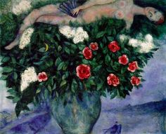 """""""Art is the unceasing effort to compete with the beauty of flowers – and never succeeding."""" – Marc Chagall, Russian-French painter who died on 29 March 1985.  THE WOMAN AND THE ROSES BY MARC CHAGALL"""
