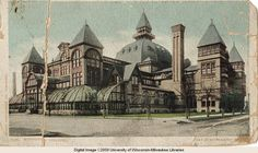 """Built in 1880, the Exposition Building housed Milwaukee's first Industrial Exposition with the theme """"Make Milwaukee Mighty."""" During the exposition, over 145,000 visitors came from across the country to see products from all disciplines of industry and art.  The site of concerts, carnivals, expositions, festivals, and other gatherings of all kinds, the building was destroyed by fire in 1905."""