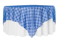 """Circle Sequin Table Overlay 85""""x85"""" Square - Royal Blue ● $21.99  ● Available from www.cvlinens.com"""