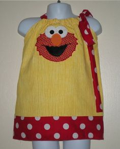 Custom Personalized Elmo Applique Pillowcase Dress Great for birthdays include personalization