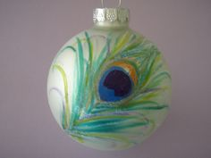 Hand painted Peacock Feather glass ornaments by 2birdsinparadise