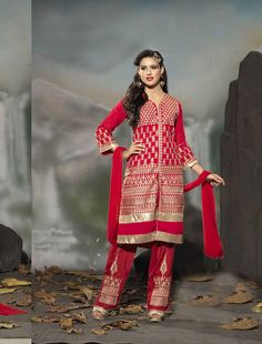 http://www.istyle99.com/Semi-Stitched-Anarkali-Style-Suits/THANKAR-LATEST-EMBROIDERED-DESIGNER-RED-STRAIGHT-SUIT-3352.html LATEST EMBROIDERED DESIGNER RED STRAIGHT SUIT - Rs1708 BASE COLOUR : RED TOP FABRIC : GEORGETTE TOP COLOUR : RED BOTTOM FABRIC : SANTOON BOTTOM COLOUR : RED DUPATTA FABRIC : NAZNEEN DUPATTA COLOUR : RED INNER FABRIC : SANTOON INNER COLOUR : RED WORK : EMBROIDERY PRODUCT TYPE : SEMI STITCHED : PARTY, BRIDAL, WEDDING STYLE : STRAIGHT SUIT