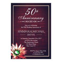 Elegant Burgundy 50th Wedding Anniversary Invite - invitations custom unique diy personalize occasions