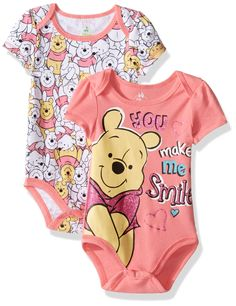 Disney Baby Girls' Winnie the Pooh 2 Pack Bodysuit Layette Set, Coral, 6-9 Months. Soft fabric. Snap closure for easy diaper changes. Easy to wash. Expandable lap shoulder for easy dress. Fun and colorful.